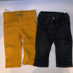 Gap 12-18 mos black and mustard jeans bundle